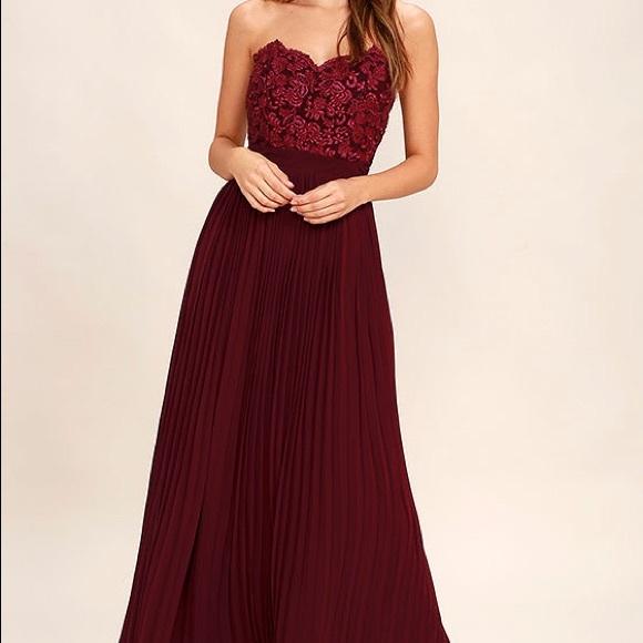 7fd071c5b43e Lulu's Dresses | Gorgeous Burgundy Lace Strapless Maxi Dress | Poshmark